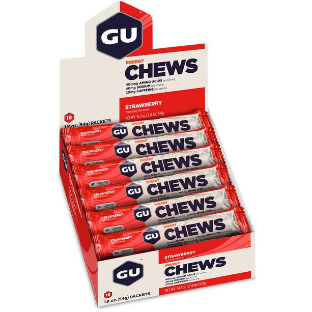 GU Energy Chews Box 18x54g Strawberry with Caffeine