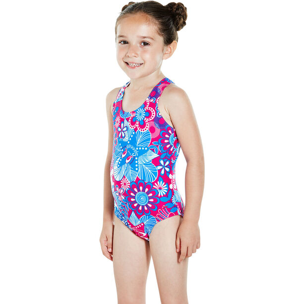 speedo Fantasy Flowers Essential All Over Swimsuit Barn electric pink/neon blue/white